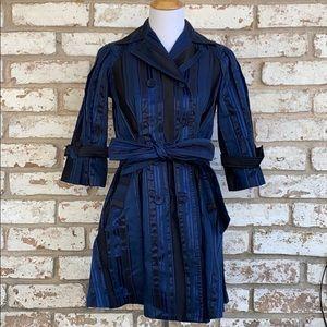 Ted Baker Navy Blue Black Striped Shimmer Coat